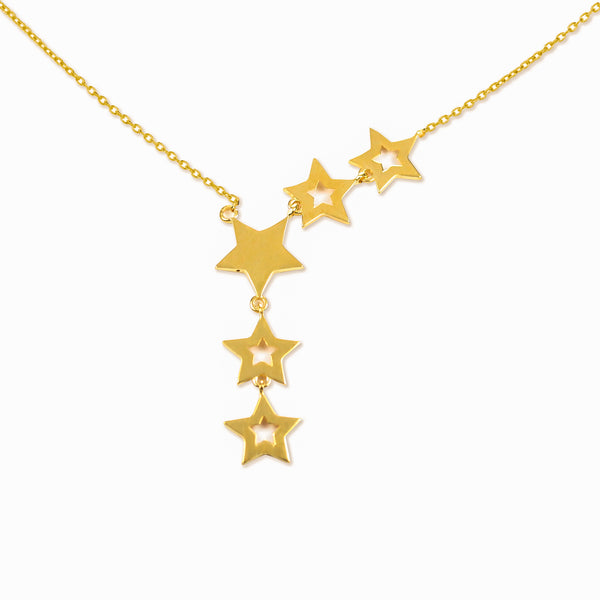 18K Chinese Gold Star Shaped Necklace