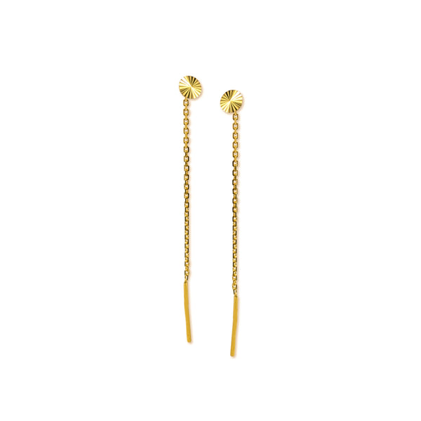 18K Chinese Gold Round Stringer Earrings