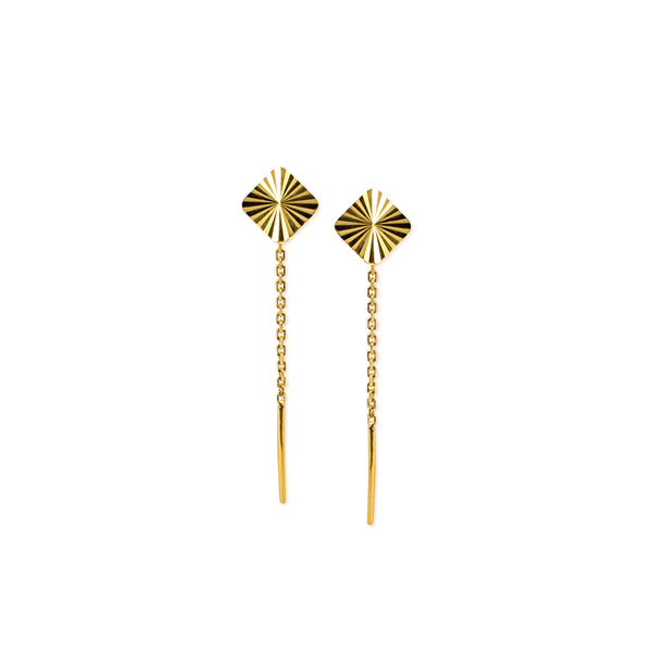 18K Chinese Gold Square Stringer Earrings