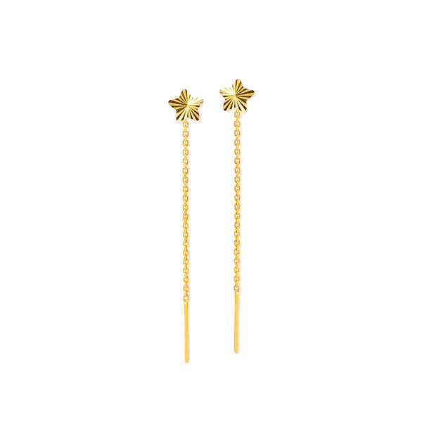 18K Chinese Gold Star Stringer Earrings