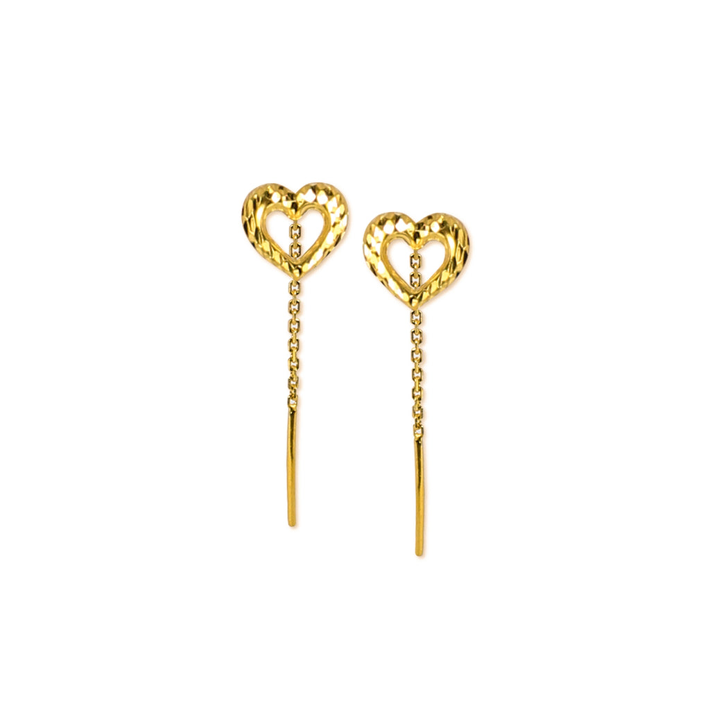 18K Chinese Gold Heart Stringer Earrings