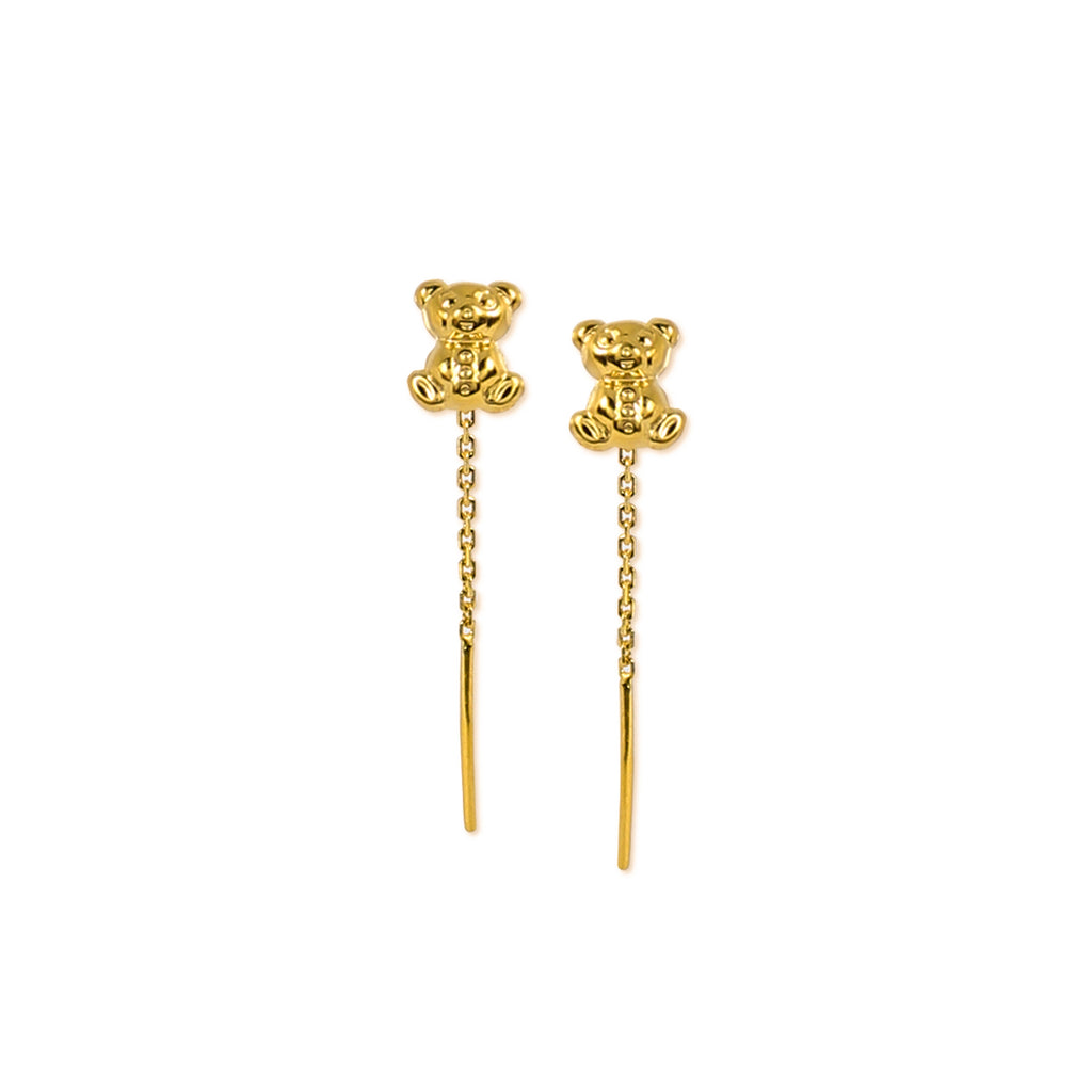 18K Chinese Gold Teddy Bear Stringer Earrings