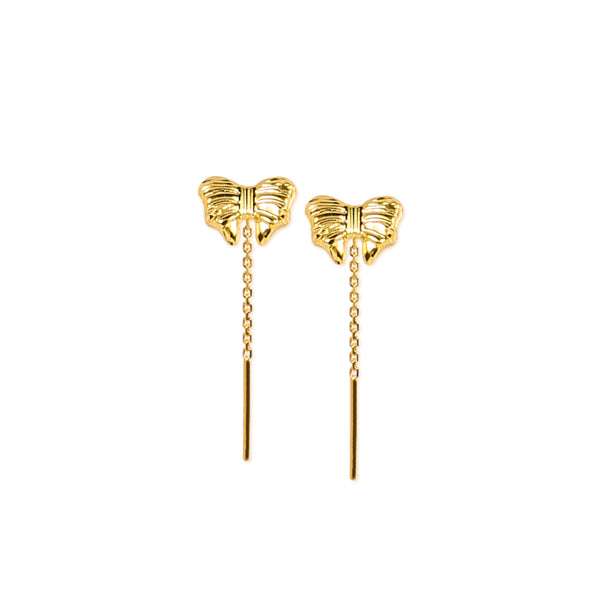 18K Chinese Gold Ribbon Stringer Earrings