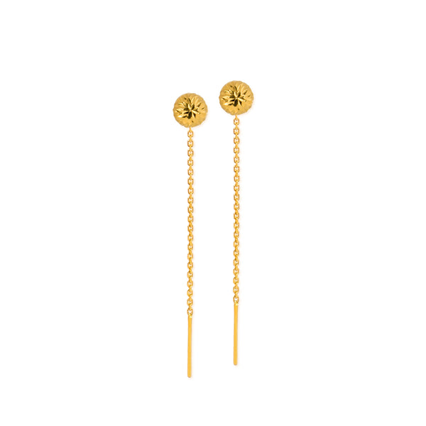 18K Chinese Gold Balls Stringer Earrings