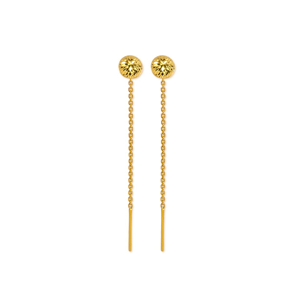 18K Chinese Gold Half Ball Stringer Earrings