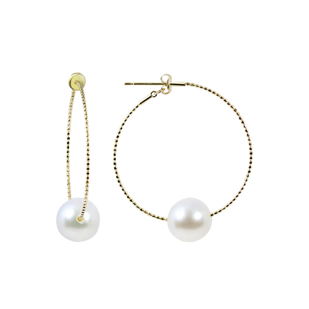 9mm White South Sea Pearl in 18K Yellow Gold Hoops Earring