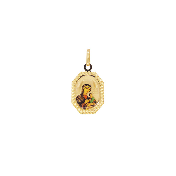 18K Saudi Gold Our Mother of Perpetual Help Image Pendant