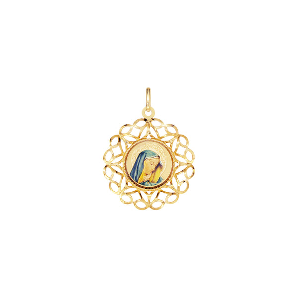 18K Saudi Gold Mother Mary in Lace and Enamel Pendant