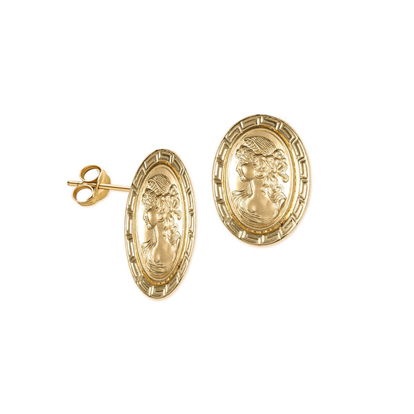 18K Saudi Gold Cameo Stud Earrings