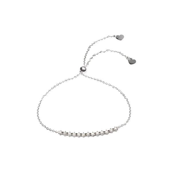 True Radiance Half Eternity Diamond Friendship Bracelet in 14K White Gold
