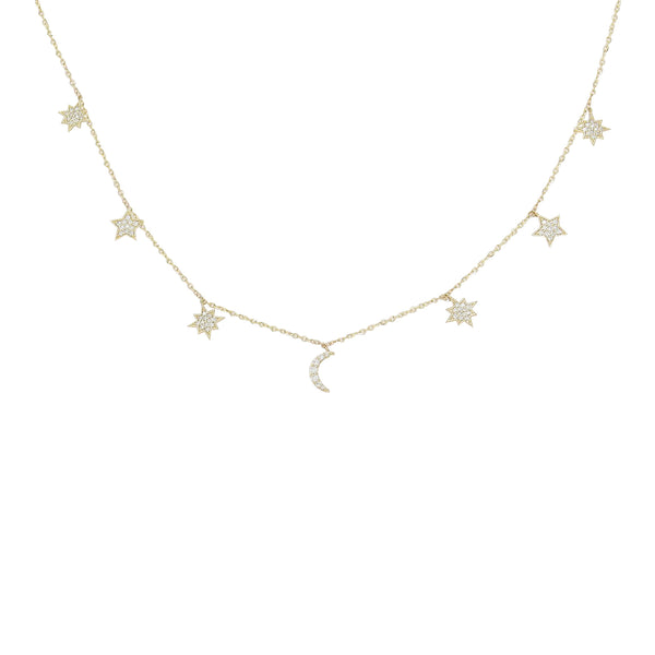 Charmed Diamond Necklace in 14K Yellow Gold