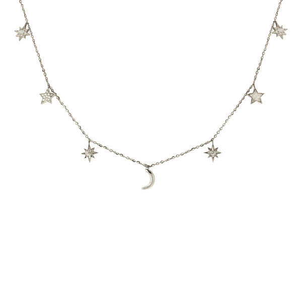 Diamond Choker Necklace with .24 ct Star & Moon Charms in 14K White Gold
