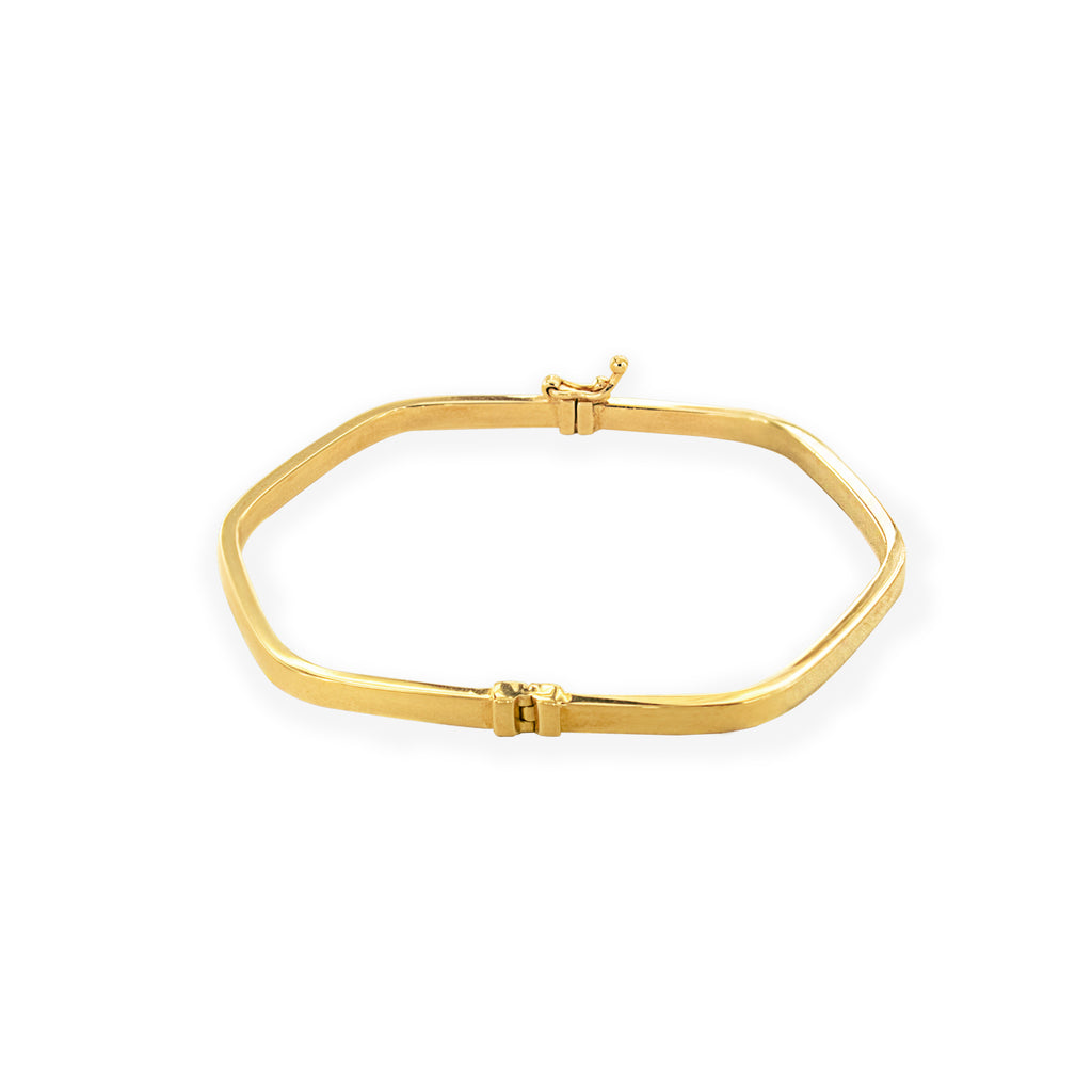 14K Italian Yellow Gold Hexagon Bangle Bracelet