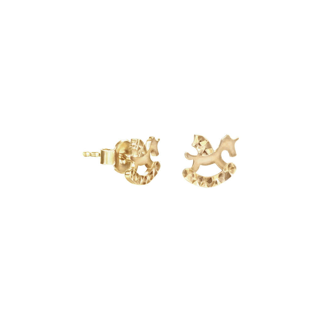 18K Saudi Gold Horse Stud Earrings