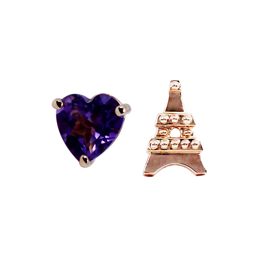 L'Eiffel Amethyst Mismatched Earrings