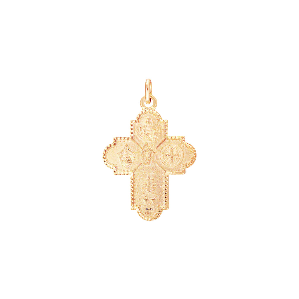 14K Italian Gold Four-Way Medals Cross Pendant
