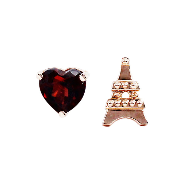 L'Eiffel Garnet Mismatched Earrings