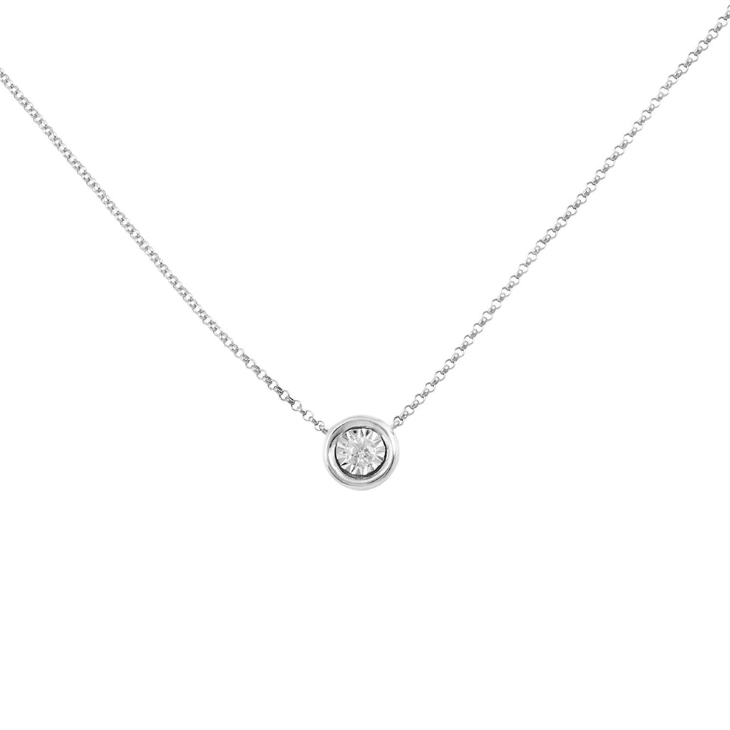 Keepsake Collection Ritz Round Necklace in 14K Italian White Gold