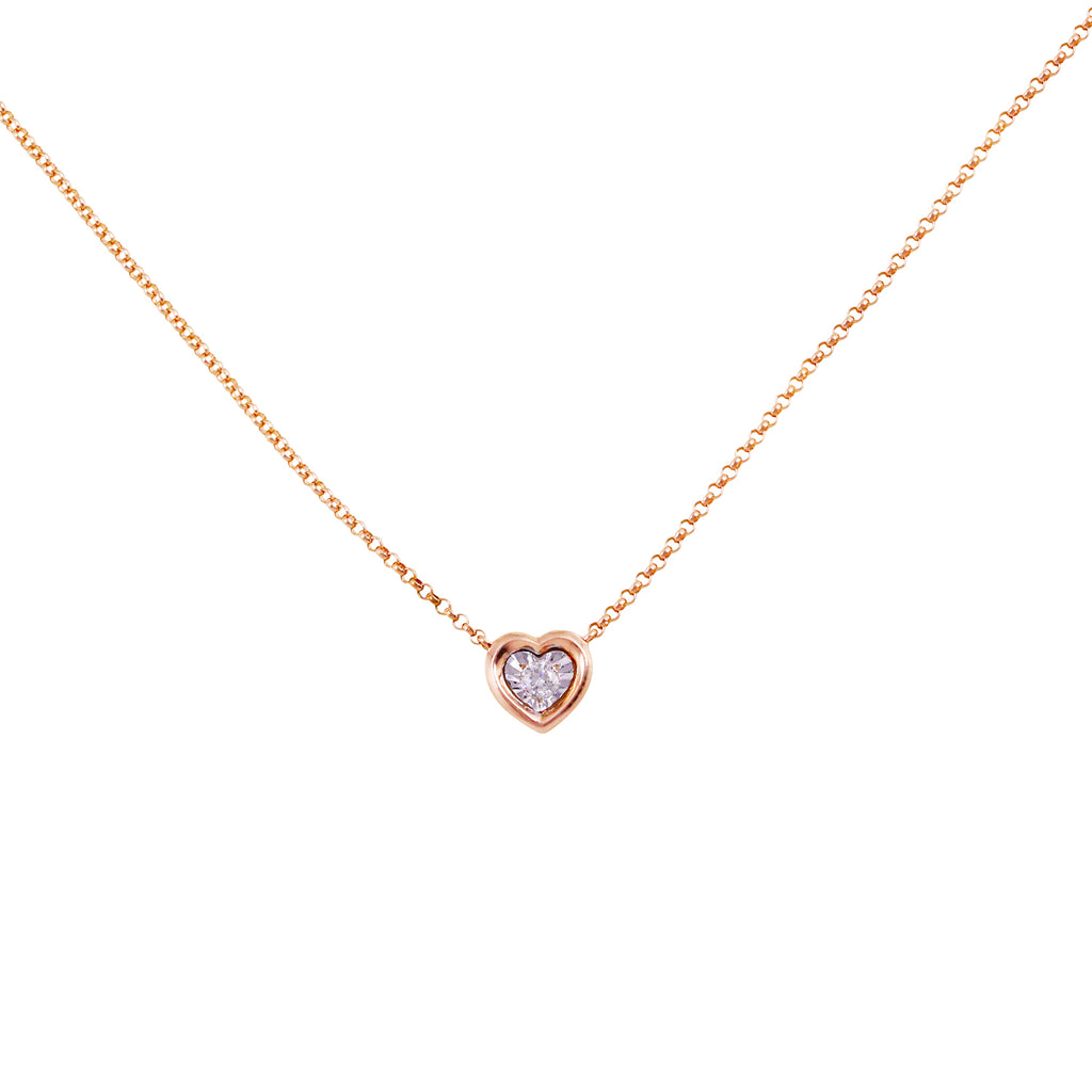 Keepsake Collection Ritz Heart Necklace in 14K Italian Rose Gold 18""