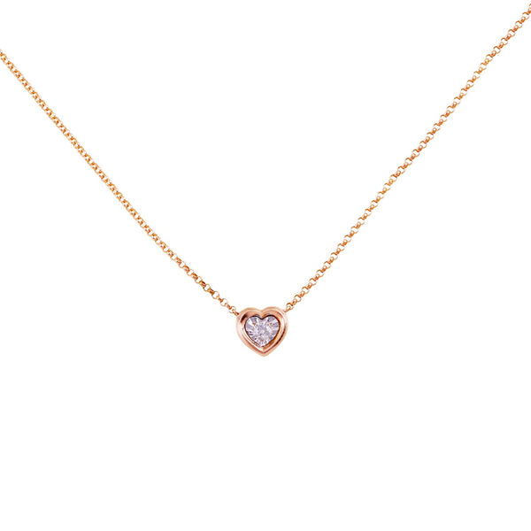 Ritz Heart Necklace in 14K Italian Rose Gold 14""