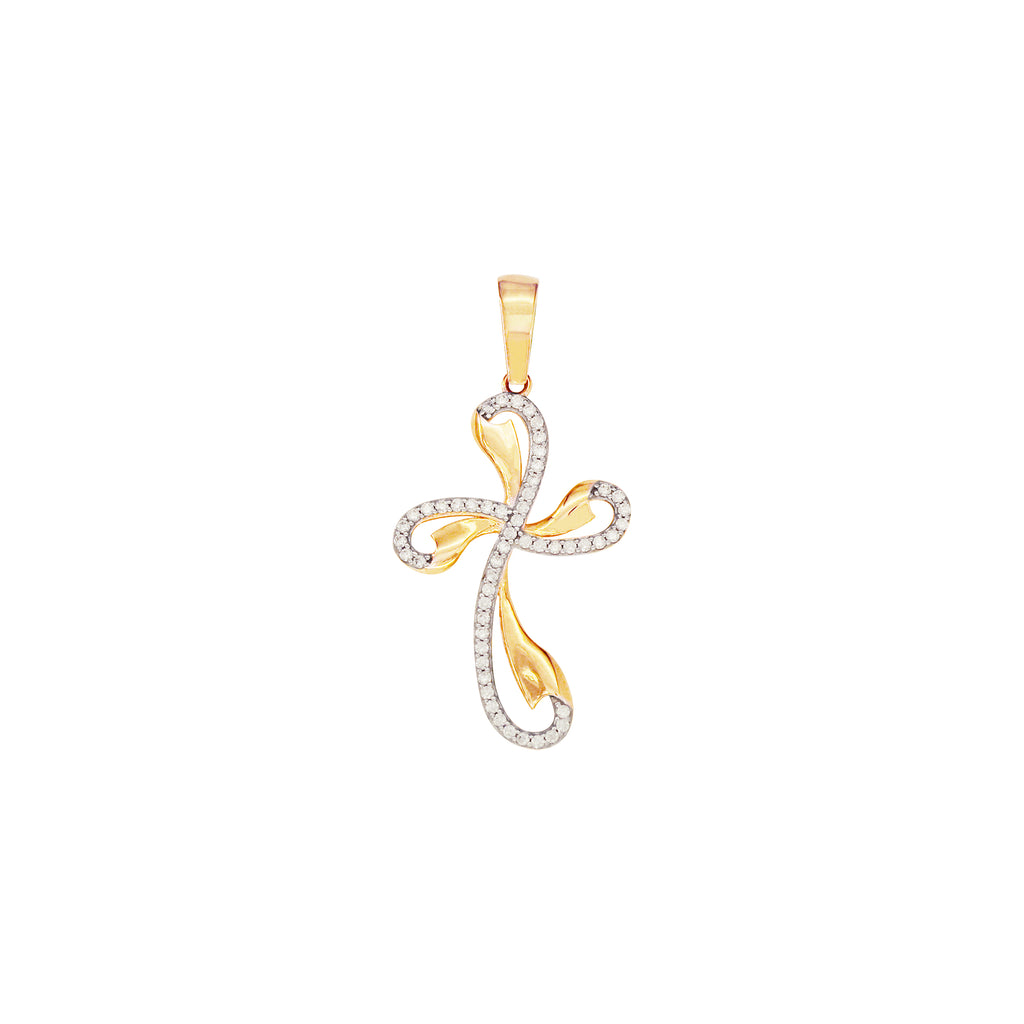 18K Saudi Gold Cross Pendant with Cubic Zirconia