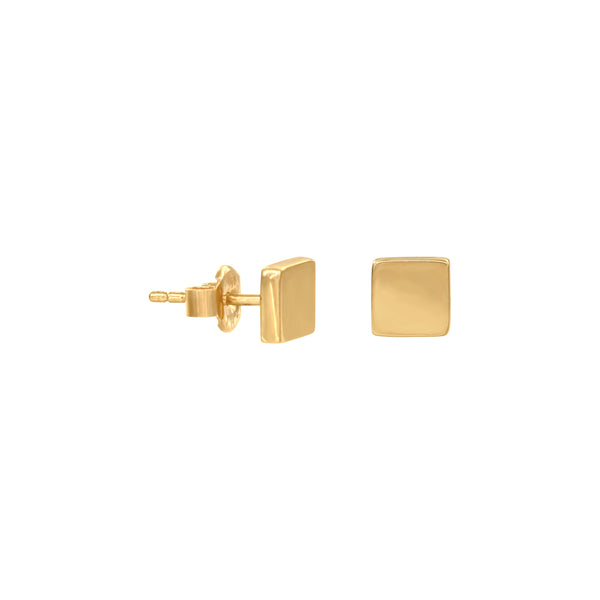 14K Italian Gold Square Stud Earrings