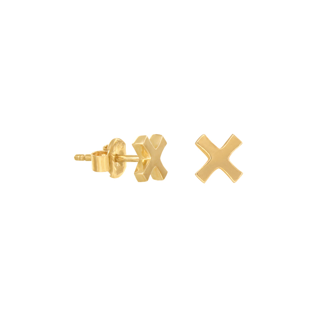 14K Italian Gold X Stud Earrings