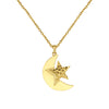 18K Saudi Gold Moon with Star Necklace