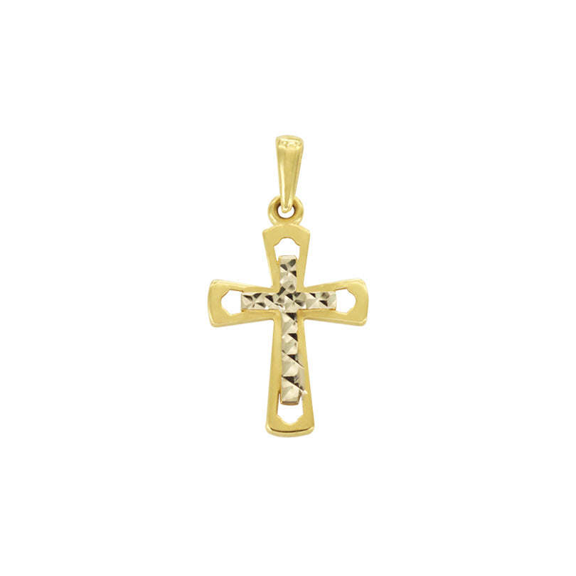 18K Saudi Two-Toned Cross with Diamond Cut Pendant