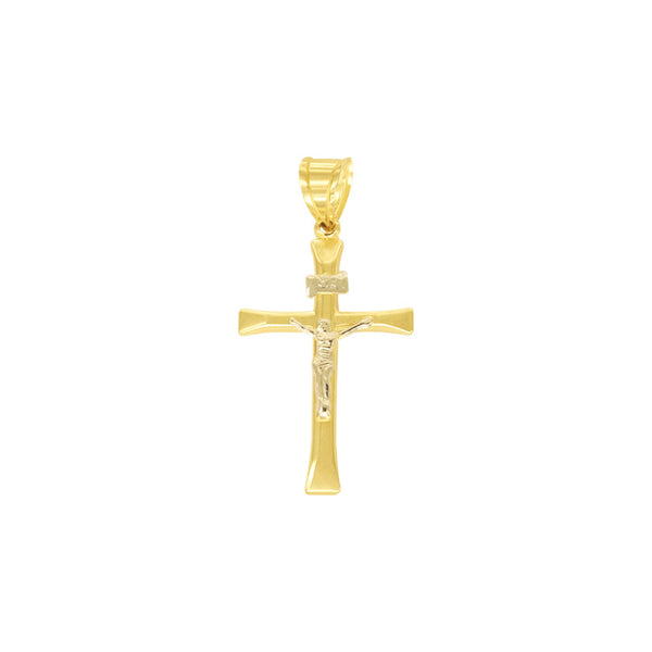 18K Saudi Two-Toned Cross with Image Pendant