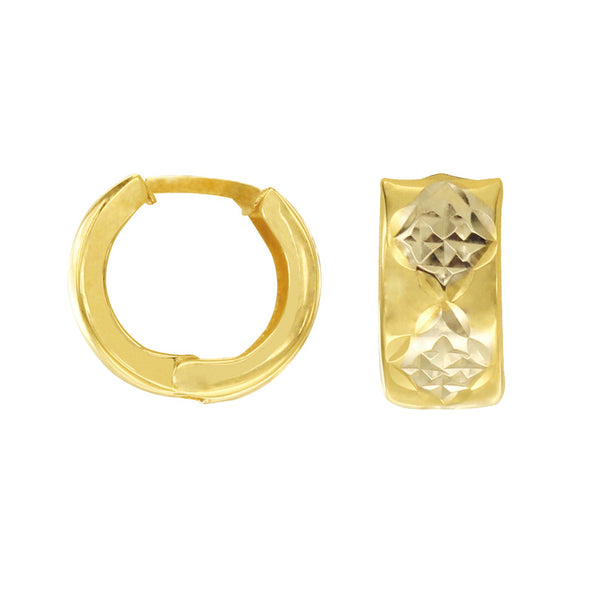 18K Saudi Gold Tricolor Creolla with Diamond Cut Earrings