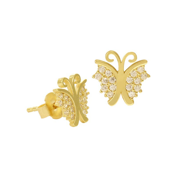 18K Saudi Gold Butterfly with Cubic Zirconia Stud Earrings