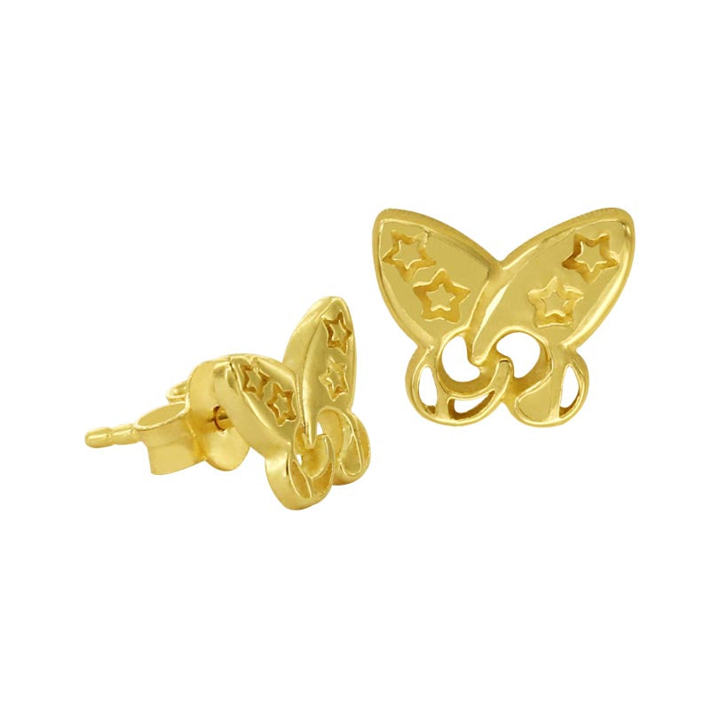 18K Saudi Gold Butterfly Stud Earrings