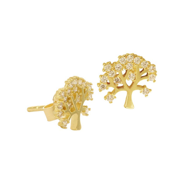 18K Saudi Gold Tree with Cubic Zirconia Stud Earrings