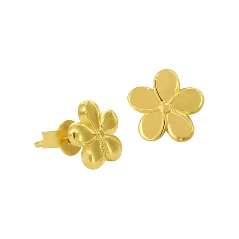 18K Saudi Gold Flower Stud Earrings