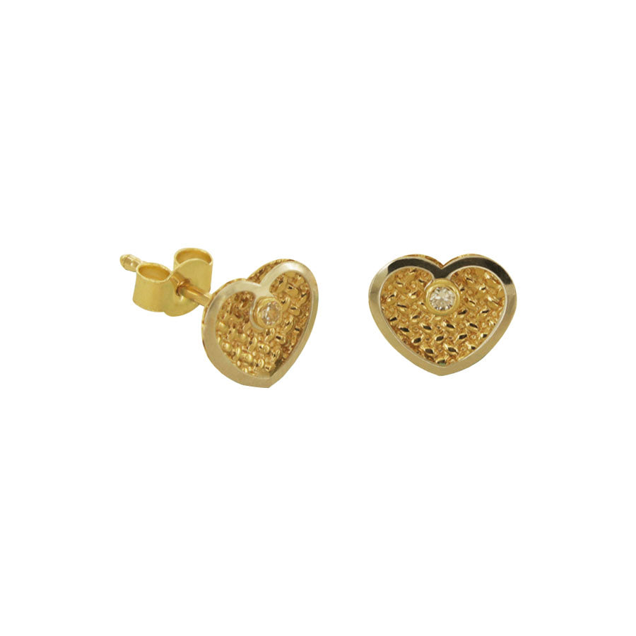 14K Italian Gold Kids Heart Cubic Zirconian Stud Earrings