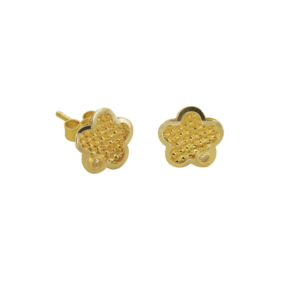 14K Italian Gold Kids Flower Cubic Zirconian Stud Earrings