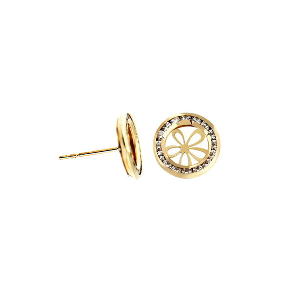 14K Italian Gold Flower with Cubic Zirconia Stud Earrings
