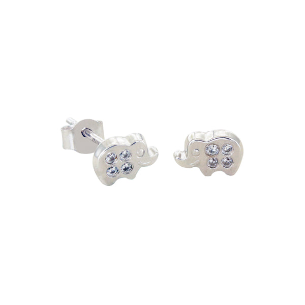 14K Italian Gold Kids Elephant Cubic Zirconian Stud Earrings