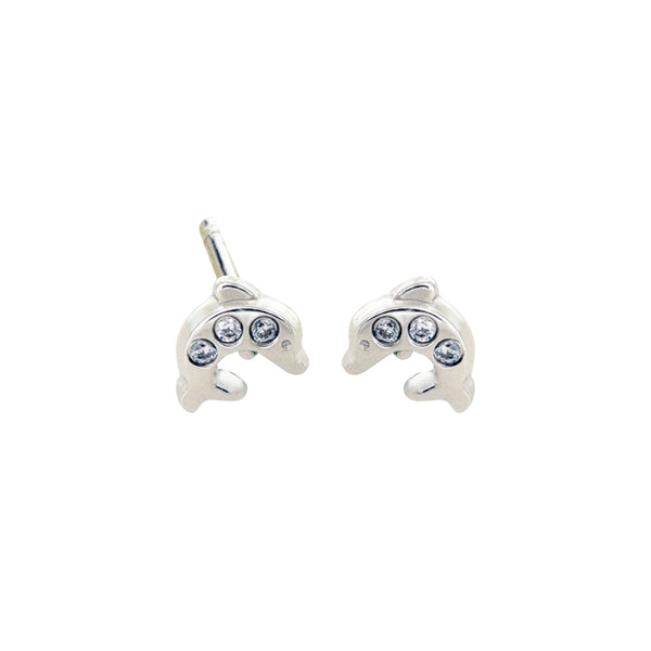 14K Italian Gold Kids Dolphin Cubic Zirconian Stud Earrings