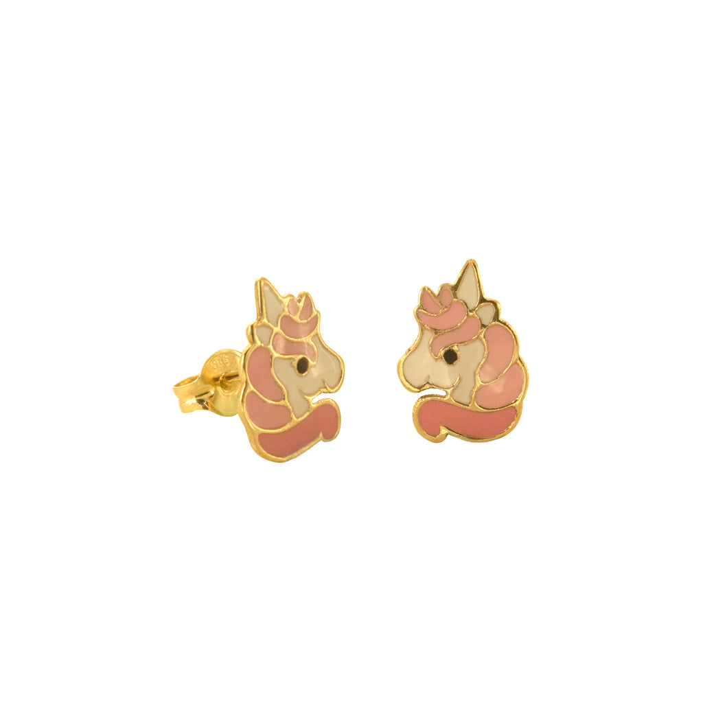 14K Italian Gold Kids Unicorn Stud Earrings