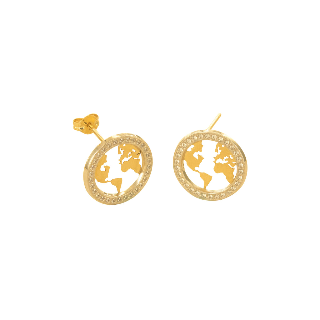14K Italian Gold World Map Cubic Zirconian Stud Earrings