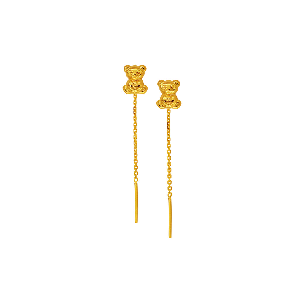 18K Chinese Gold Bear Without Lock Earrings