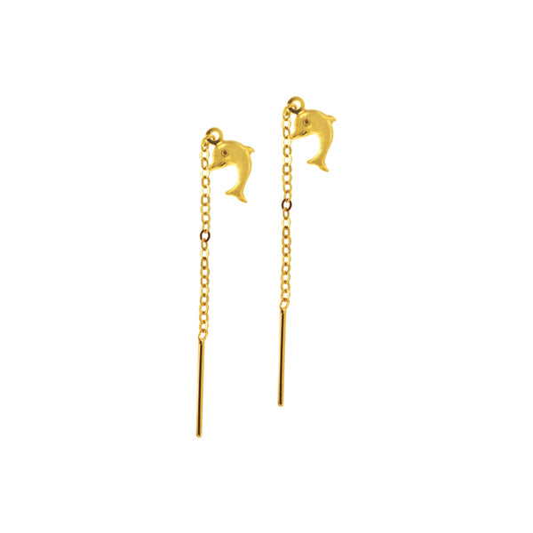 18K Chinese Gold Dolphin Stringer Earrings