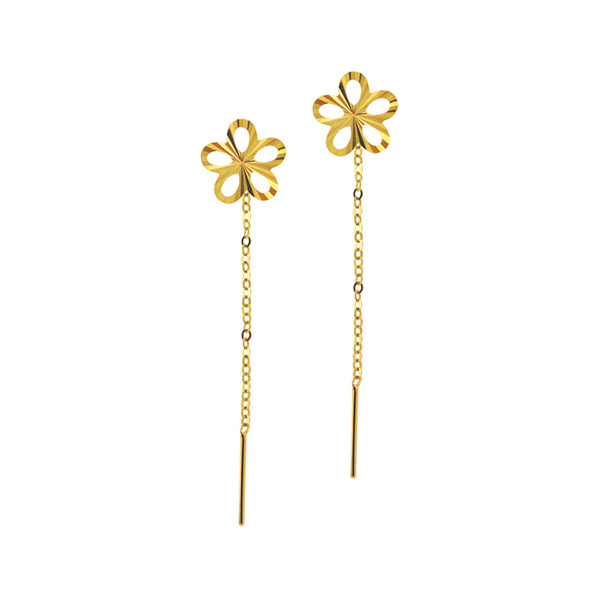 18K Chinese Gold Flower Stringer Earrings