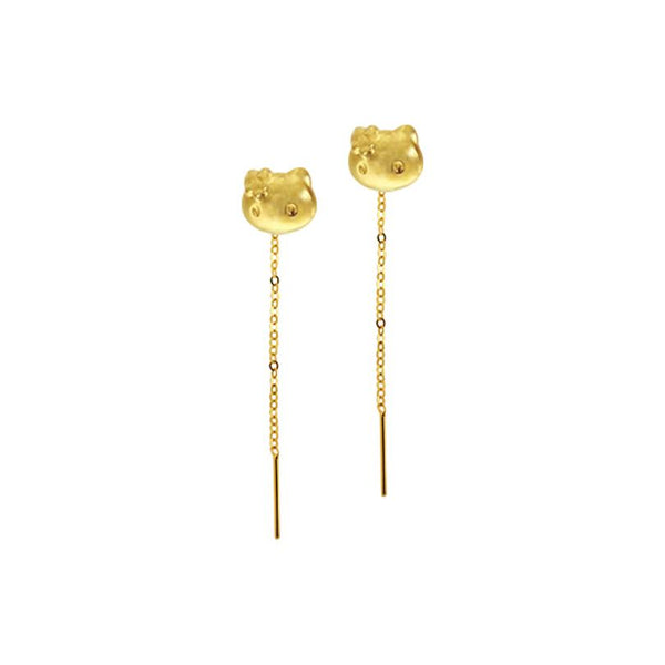 18K Chinese Gold Kitty Stringer Earrings