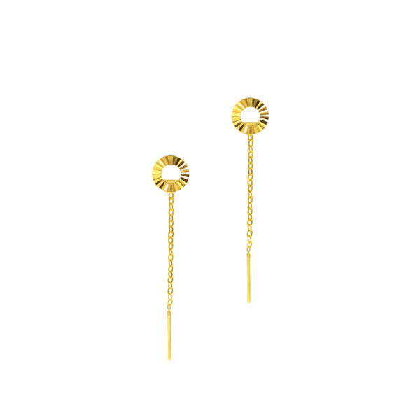 18K Chinese Gold Donut Stringer Earrings