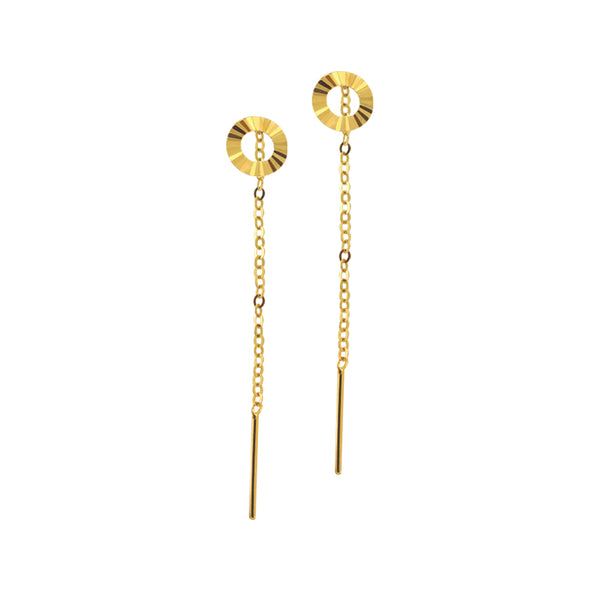 18K Chinese Gold Donut Long Stringer Earrings