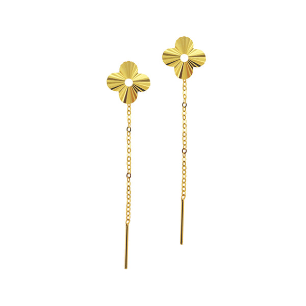 18K Chinese Gold Flower Long Stringer Earrings