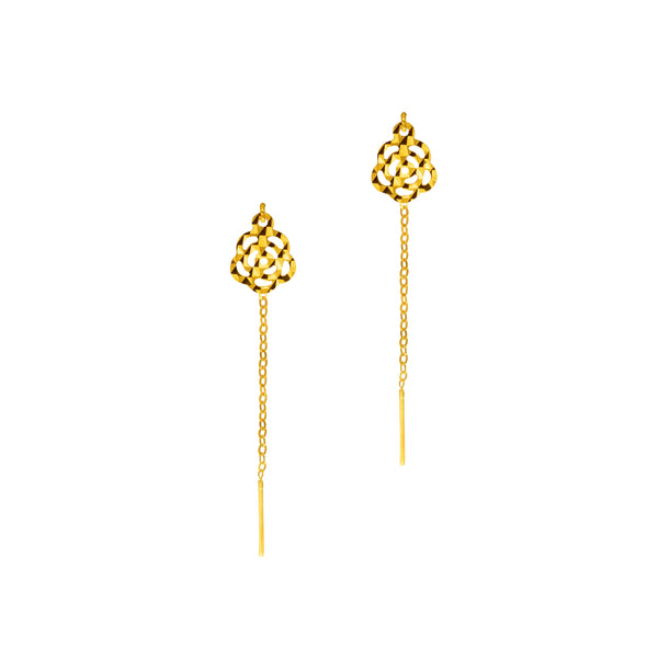 18K Chinese Gold Flower Short Stringer Earrings